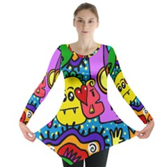 Cartoon Doodle Pattern Abstract Long Sleeve Tunic