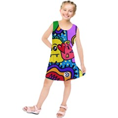 Cartoon Doodle Pattern Abstract Kids  Tunic Dress