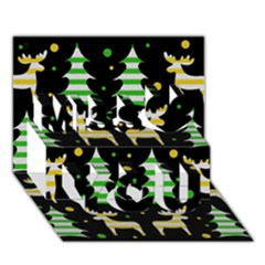 Decorative Xmas Reindeer Pattern Miss You 3d Greeting Card (7x5)