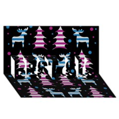 Blue And Pink Reindeer Pattern Best Sis 3d Greeting Card (8x4)