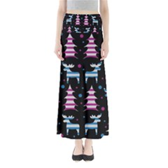 Blue and pink reindeer pattern Maxi Skirts