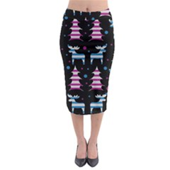 Blue and pink reindeer pattern Midi Pencil Skirt