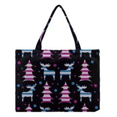 Blue And Pink Reindeer Pattern Medium Tote Bag