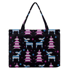 Blue And Pink Reindeer Pattern Medium Zipper Tote Bag