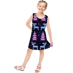Blue and pink reindeer pattern Kids  Tunic Dress