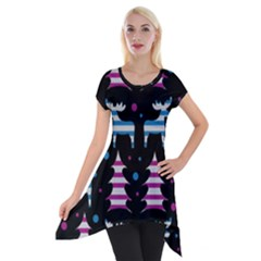 Blue And Pink Reindeer Pattern Short Sleeve Side Drop Tunic