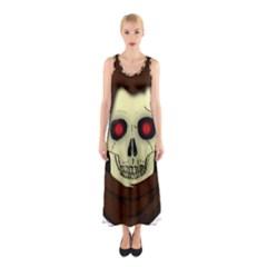 Evil Hooded Skull Vector Clipart Sleeveless Maxi Dress