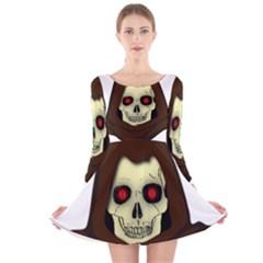 Evil Hooded Skull Vector Clipart Long Sleeve Velvet Skater Dress