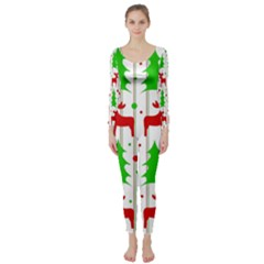 Reindeer Elegant Pattern Long Sleeve Catsuit