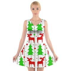Reindeer elegant pattern V-Neck Sleeveless Skater Dress