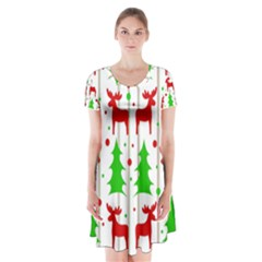 Reindeer Elegant Pattern Short Sleeve V Neck Flare Dress