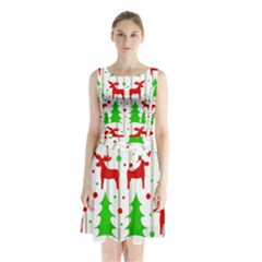 Reindeer Elegant Pattern Sleeveless Chiffon Waist Tie Dress