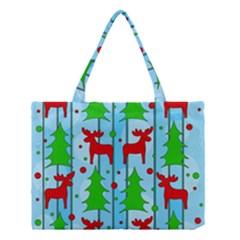 Xmas reindeer pattern - blue Medium Tote Bag