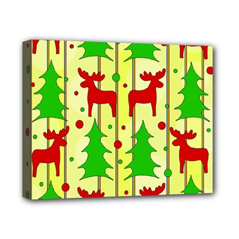 Xmas reindeer pattern - yellow Canvas 10  x 8