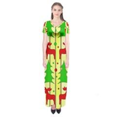 Xmas reindeer pattern - yellow Short Sleeve Maxi Dress
