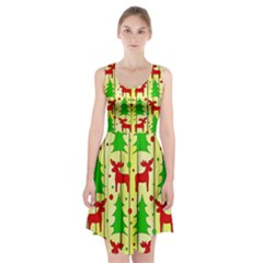 Xmas reindeer pattern - yellow Racerback Midi Dress