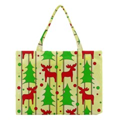 Xmas reindeer pattern - yellow Medium Tote Bag