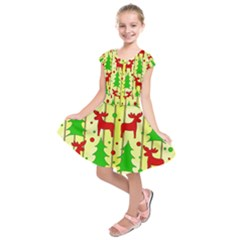 Xmas reindeer pattern - yellow Kids  Short Sleeve Dress