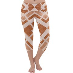 Fabric Textile Tan Beige Geometric Capri Yoga Leggings