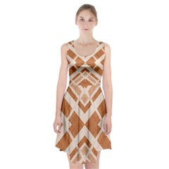 Fabric Textile Tan Beige Geometric Racerback Midi Dress