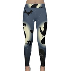 Halloween Card With Witch Vector Clipart Classic Yoga Leggings