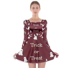 Halloween Free Card Trick Or Treat Long Sleeve Skater Dress