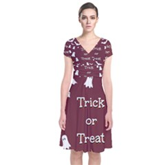 Halloween Free Card Trick Or Treat Short Sleeve Front Wrap Dress