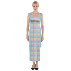Grid Squares Texture Pattern Fitted Maxi Dress