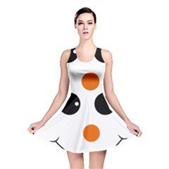 Happy Face With Orange Nose Vector  Reversible Skater Dress
