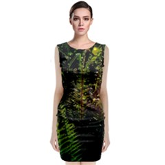 Green Leaves Psychedelic Paint Classic Sleeveless Midi Dress