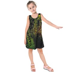 Green Leaves Psychedelic Paint Kids  Sleeveless Dress
