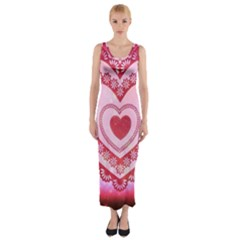 Heart Background Lace Fitted Maxi Dress