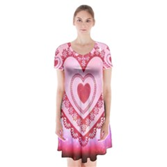 Heart Background Lace Short Sleeve V-neck Flare Dress