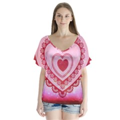 Heart Background Lace Flutter Sleeve Top