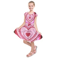 Heart Background Lace Kids  Short Sleeve Dress