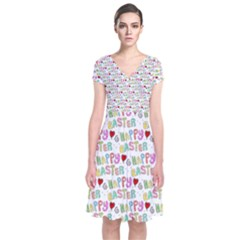 Happy Easter Short Sleeve Front Wrap Dress