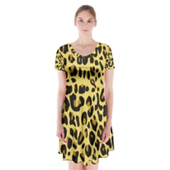 Jaguar Fur Short Sleeve V-neck Flare Dress