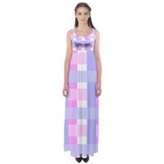 Gingham Checkered Texture Pattern Empire Waist Maxi Dress