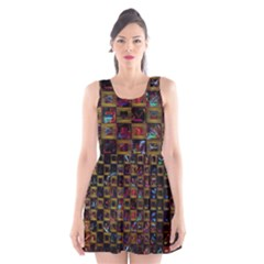 Kaleidoscope Pattern Abstract Art Scoop Neck Skater Dress