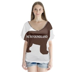 Newfie Name Silo Brown Flutter Sleeve Top