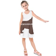 Newfie Name Silo Brown Kids  Sleeveless Dress