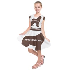 Newfie Name Silo Brown Kids  Short Sleeve Dress