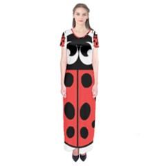 Lady Bug Illustration Short Sleeve Maxi Dress