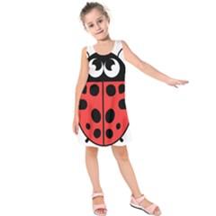 Lady Bug Illustration Kids  Sleeveless Dress