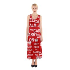 Keep Calm And Carry On Sleeveless Maxi Dress