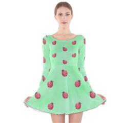 Ladybug Pattern Long Sleeve Velvet Skater Dress