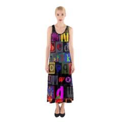 Letters A Abc Alphabet Literacy Sleeveless Maxi Dress