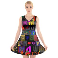 Letters A Abc Alphabet Literacy V-Neck Sleeveless Skater Dress