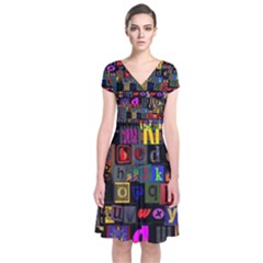 Letters A Abc Alphabet Literacy Short Sleeve Front Wrap Dress