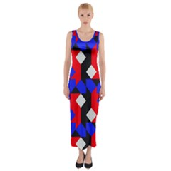 Pattern Abstract Artwork  Fitted Maxi Dress